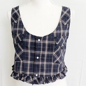 Cropped Tank Top Furst of a Kind New Plaid